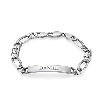 Men's Personalized Signature ID Bracelet-Sterling Silver/Gold Plated Custom Jewelry for Him