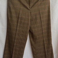 "Womens Size 12  RQT Brown Plaid Dress Pant 34"" waist Trousers Work"