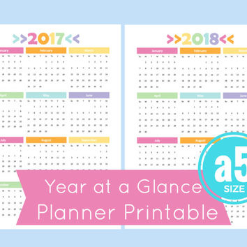 a5 Year at a Glance Calendar, 2017 Year at a Glance Calendar, a5 Planner Inserts, Filofax a5 Inserts
