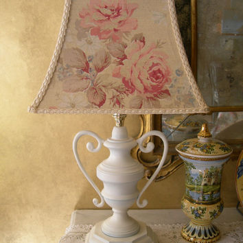 Antique Bronze Table Lamp with French Floral Shabby Chic Lamp Shade