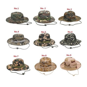 Men/Women Camouflage Military Wide Brim Bucket Camping Hunting Boonie Hat Unsex Cap = 1705712772