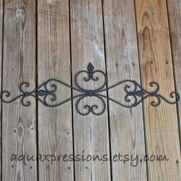 Metal Wall Fixture /Black /Distressed Patio Decor /Painted Bright /Distressed /Outdoor Up Cycled Iron Art