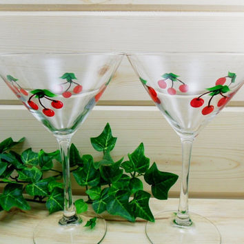Martini Glasses Hand Painted Red Cherries Set of 2