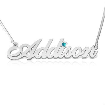Silver Name Necklace Classic Silver Name Necklaces With Name Birthstone Graduation Gift Special Birthday Gift for Women Jewelry Nameplate