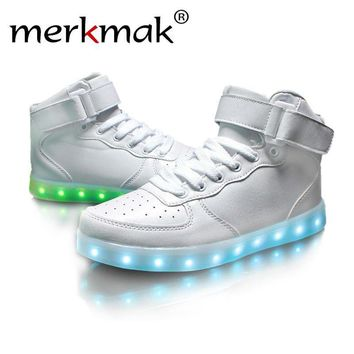 Merkmak Ankle Boots White Black Red Light Up Shoes Unisex LED Shoes For Adults USB Cha
