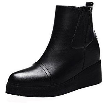 Guciheaven Women Simple Fashion Short Boot Full Sole Plush Lined Leather Wedges Boot (Black/Red)