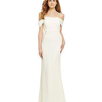 Calvin Klein Off-the-Shoulder Sheath Gown - Cream