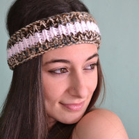 Thin Knitted Headband Stylish Headband with Sequins White Green Headband- Handmade