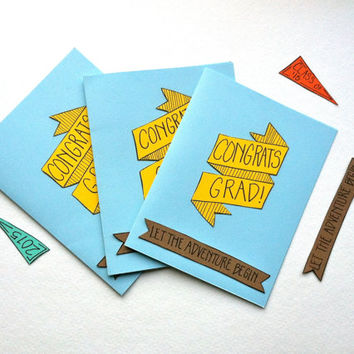 Congrats Grad! Graduation Card for Class of 2015 Seniors. Handmade with Blank Interior and Matching Banners