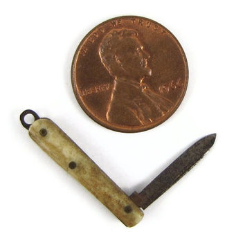 "Baby Blade - Antique Miniature Pocket Knife, Just 1"" Long, with Bone Handle, Real Knife or Jewelry Charm"