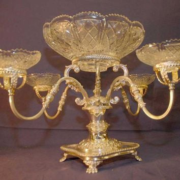 Canonbury - English Sheffield Silverplate Epergne Cut Glass Dish