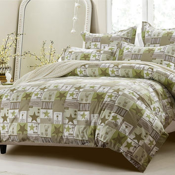 6PC PATCHWORK GREEN BROWN BEDDING SET-INCLUDES COMFORTER AND DUVET COVER