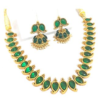 Traditional Mango design matte gold finish choker necklace and earring set