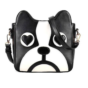 French Bulldog Animal Themed Cross body Shoulder Bag for Women in Black and White