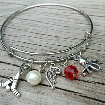 Detroit bracelet - Michigan charm bangle - Detroit hockey team jewelry, Red Wings accessory. Perfect gift for Detroit Wings Hockey fans
