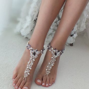 33cecb848 EXPRESS SHIPPING Beach Wedding barefoot sandals Crystal barefoot
