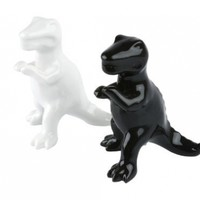 Present Time Ceramic Black and White Dino Salt and Pepper Shaker Set