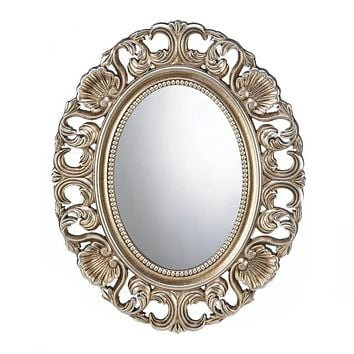 Oval Wall Mirror Gilded Gold Finish Ornate Frame Classic Timeless Home Decor