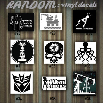 RANDOM vinyl decals - 28-36 - car decal - vinyl sticker - random designs - car window stickers - custom sticker - funny stickers - fun decal