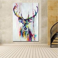 SELFLESSLY Pop Art Canvas Painting Nordic Animal Deer Pictures Canvas Print Posters Unframed Wall Art Pictures