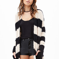 FOREVER 21 Fuzzy Striped Cardigan Black/Taupe