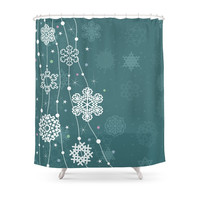 Society6 Christmas Snow Shower Curtain