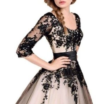 Sexy Black Lace Ball Gown Evening Cocktail Party Prom Formal Dress (#10 for US 2, black)