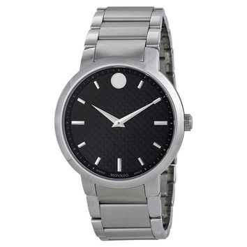 Movado Gravity  Black Carbon Fiber Dial Stainless Steel Mens Watch 0606838