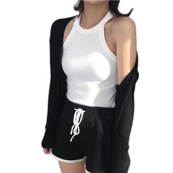 New Knitted Kpop Female T-shirt High Elastic Fitness Skinny Solid Women's Tank Tops Sexy Exposed Shoulders Tops