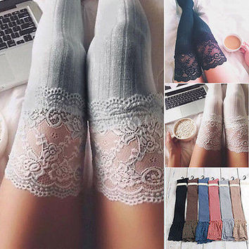 Cotton Lace Winter Warm Calcetines Women Knit Over Knee Thigh Stockings High Pantyhose Tights