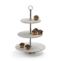"Eclipse Home Collection Round Marble Fruit Stand 17"" H  x 12"" Dia."