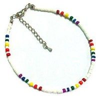 White Shell Anklet with Rainbow Beads