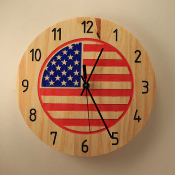 American flag clock Wood clock Wall clock Wooden wall clock USA flag Home clock Independence day Patriotic decor Red white blue Star clock