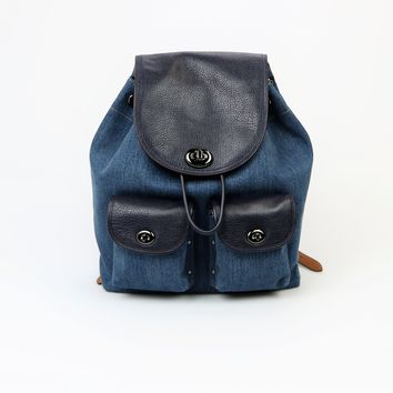 Coach Large Denim Turnlock Rucksack Backpack