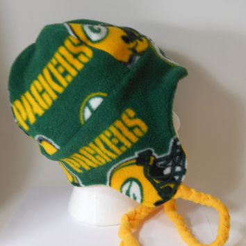 Green Bay Packers Earflap hat, Adults, childrens, Packers chullo style hat,  Licensed Fabric,  Double layer fleece hat