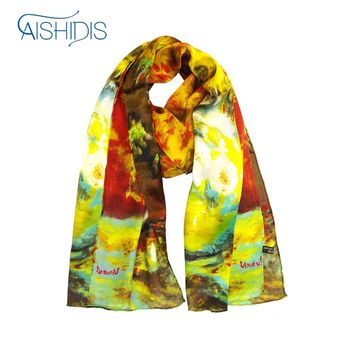 Aishidis Women 100% Silk Scarf  Van Gogh Painting Sunflower Printing High Quality Floral Foulards Scarves Handmade Hems