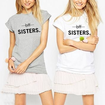 Bff Sisters T Shirt Matching Best Friends Tumblr Tshirt Women Funny Graphic Tees Casual Tops Hipster Letter Print Summer T-shirt