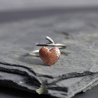 Heart Branch Adjustable ring, copper, valentine jewelry, gifts for her, gifts under 40, Branch ring
