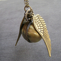 Harry Potter Golden Snitch Ball Pocket WATCH with Double Sided brass Wings--locket Ball necklace