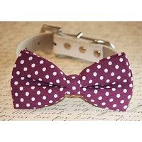 Raspberry Polka dots Dog Bow tie attach to collar, Raspberry wedding