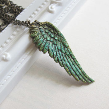 Vintage Inspired Feather Pendant. Patina with Rustic Antiqued Touch Angel Feather Wing. Shabby Chic Whimsical Boho Chic Style Long Necklace