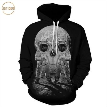 ISTider 2017 New Style 3D Printed Sweatshirts Astronaut On The Moon Skull Design Black Hoody Casual Sweat Shirt Hoodies Men Tops