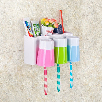 Rack Teethbrush Mug Cup Tooth Brush Holder Set Toothbrush Holder [11516226639]