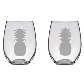 Pineapple Engraved Glasses, Beach, Fruit, Gift Free Personalization