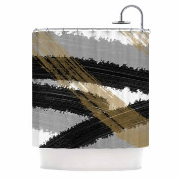 Black and Gold Brush Strokes - Black Gold Abstract Painting Shower Curtain