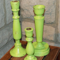 Candle Holders, 3 Chartreuse / Green