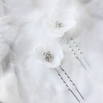 Bridal Hair Pins Bridal Headpiece Flower Hair Petal Wedding Hair Pins Floral Decorated Hair Pins Wedding Hair Accessory Floral Hair Pins