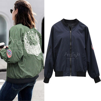 Sports Hot Deal On Sale Jacket Zippers Women's Fashion Long Sleeve Baseball [9150486343]