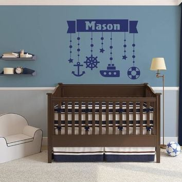ik2324 Wall Decal Sticker Marine name boy steering ship anchored over bed children's room