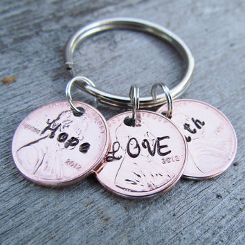 3 Penny Key Chain Faith Hope LOVE Personalized Hand Stamped Jewelry Charm Custom Name Lucky Great Gift 1950 to 2014 Pennies
